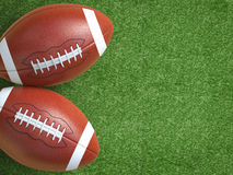 Football on field. 3d rendering american football ball on green field Stock Images