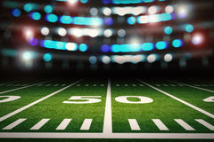 Football field. 3d rendering empty american football stadium Stock Images
