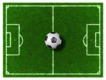 Football field. 3d Football - Soccer grassy field with soccer ball Royalty Free Stock Photos