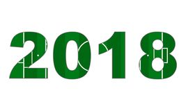 Football field in 2018 date numbers. World football cup Stock Images