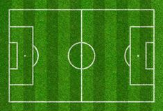 Football field drawn on a grass background Royalty Free Stock Photos