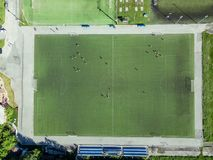 Football field without fans royalty free stock images