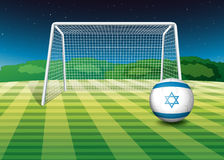 A football field with the flag of Israel Royalty Free Stock Photos