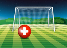 A football field with the flag of Switzerland Royalty Free Stock Images