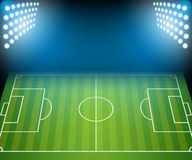 Football Field with Floodlights. Royalty Free Stock Image