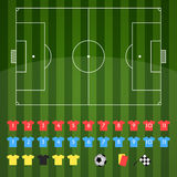 Football field and football icons for strategy Royalty Free Stock Photography
