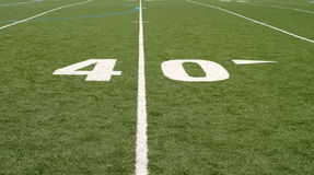 Football Field Forty. Green football field with large yard numbers Royalty Free Stock Photo