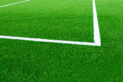 Football field fragment close up. White lines Royalty Free Stock Photos