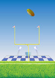 Football field and goalpost. Stock Photos