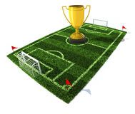 Football field with golden trophy on center Stock Images