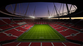 Football field. Graphic display 3D structures within architectural lighting greatness of the field Stock Image