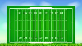 Football field with grass on blue backdrop of sky. Background for posters, banner with american football field with. Markup, top view. 3D illustration, ready Royalty Free Stock Images