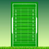 Football field with grass on green backdrop. Background. For posters, banner with american football field with markup, top view. 3D illustration, ready for Stock Photos