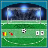 Football, uniting the whole world. Football field . on the grass the markings and the gate stand. next to the ball lies stock illustration