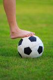 Football  on field of green grass Royalty Free Stock Photos