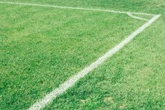 Football field, green lawn with a line drawn with white paint. Football field, lawn with a line drawn with white paint stock photos