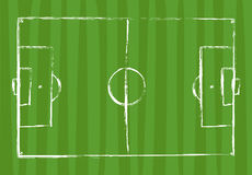 Football field grunge drawing - vector illustration Royalty Free Stock Images
