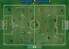 Football Field with Icon Soccer Players and Ball Stock Images