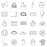 Football field icons set, outline style. Football field icons set. Outline set of 25 football field vector icons for web isolated on white background Stock Photos