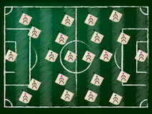 Football field illustration with 2 teams Royalty Free Stock Photo