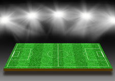 Football field with a lawn under lights. Football field with a lawn under illumination of lights Royalty Free Stock Photo