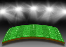 Football field with a lawn under lights. Football field with a lawn under illumination of lights Stock Photography