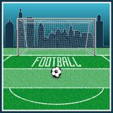 Football uniting all countries and peoples. Football field. lies a leather ball. in the background a large modern city. preparation for the championship vector illustration