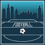 Football uniting all countries and peoples. Football field. lies a leather ball. in the background a large modern city. preparation for the championship stock illustration