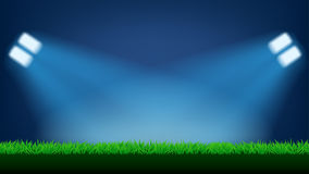 Football field light. Illustration of football field with lawn grass and light on dark background Stock Photo
