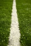 Football Field Line. White Field (Sport) Line on the Green Grassy Field. Vertical DOF Photo Stock Photo