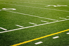 Football field lines. An empty high school football field Royalty Free Stock Image