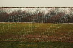 Football field lines. Tags on soccer field, white lines and grass Stock Images