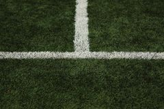 Football field lines. Tags on soccer field, white lines and grass Royalty Free Stock Photos