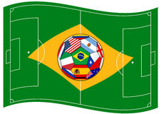 Football field looks like Brazil flag with ball Stock Image