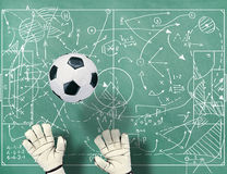 Football field with markings coaching setting Royalty Free Stock Images