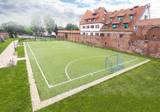 Football field in an old part of city Royalty Free Stock Photos