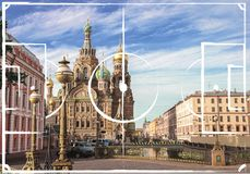 Football field plan on the background of Church of the Savior on Spilled Blood St Perersbourg, Russia. Image for international world championship 2018 royalty free stock photos