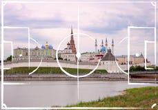 Football field plan on the background of Kazan Kremlin. From the Kazanka River, Tatarstan, Russia. image for international world championship 2018 royalty free stock photo