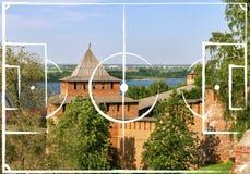 Football field plan on the Nizny Novgorod, Russia. Football field plan on the background of Kremlin in Nizny Novgorod, Russia. image for international world royalty free stock image