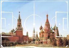 Football field plan on the background of Moscow Kremlin. And Red Square, Russia. image for international world championship 2018 stock photo