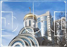 Football field plan on the background of Rostov on Don. Cathedral of the Nativity of the Virgin Mary and modern skyscrapers, Russia. image for international stock image