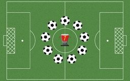 Football field with playing balls. In a circle. Champions cup. Soccer field  - Vector illustration Royalty Free Stock Images