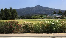Football field at Porto Carras Grand Resort. Royalty Free Stock Image