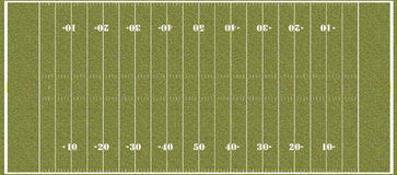 Football field - regulation NFL hashmarks Stock Images