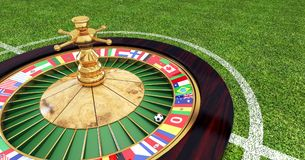 Football field with roulette machine with flags in the center