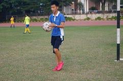 Football field at school Royalty Free Stock Image