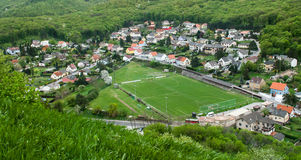Football field in a small town Royalty Free Stock Photo