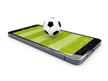 Football field on the smartphone screen. 3d illustration. Stock Images