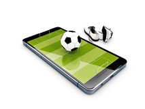 Football field on the smartphone screen and shoe. 3d illustration. Royalty Free Stock Images