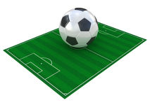 Football field and soccer ball. Isolated on white Stock Photography
